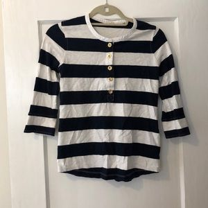 J.Crew navy and white top